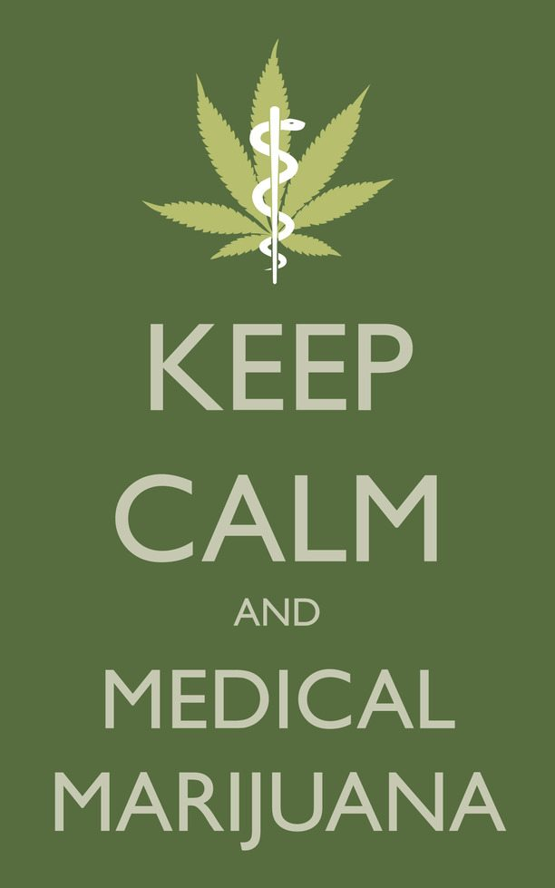 Green keep calm Medical Marijuana sign with the medical insignia and a pot leaf
